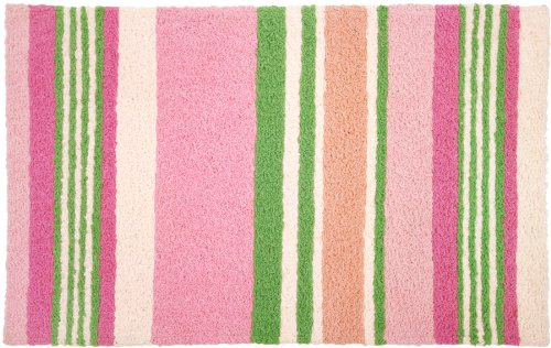 Jellybean Soft Pink and Green Stripes Area Rug