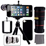 iPhone 5 Camera Lens Kit including 8x Telephoto Lens / Fisheye Lens / Macro Lens / Wide Angle Lens / Mini Tripod / Universal Phone Holder / Hard Case for iPhone 5 / Velvet Phone Bag / CamKix® Microfiber Cleaning Cloth - Awesome Accessories and Attachments for Your Apple iPhone 5 Camera (Black)