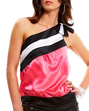 bebe.com : Color Blocked One-Shoulder Top