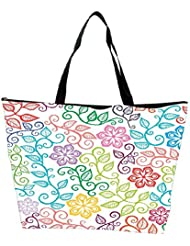 Snoogg Seamless Texture With Flowers And Butterflies Endless Floral Pattern Waterproof Bag Made Of High Strength... - B01I1KHB98
