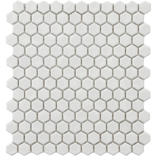 Retro Hexagon White 10 7/8 x 12 Inch Porcelain Floor & Wall Tile (10 Pcs/9.1 Sq. Ft. Per Case, $1 Standard Shipping)