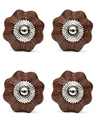 Knobs & Hooks FBK-309 Ceramic Cabinet Knob; Brown; (Set of 4 pieces)