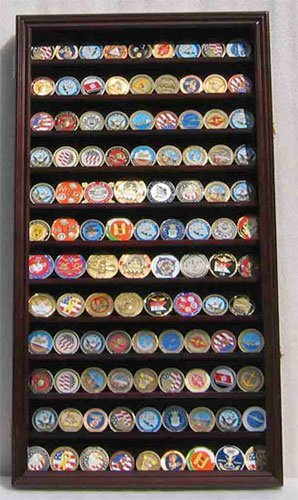 Large-108-Military-Challenge-Coin-Poker-Chip-Display-Case-Cabinet-Rack-MAHOGANY-COIN2-MA