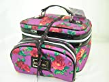 Betsey Johnson 2 Piece Train Cosmetic Make Up Case Twinkle Toes Purple Multi