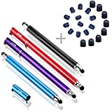 B&D スタイラスペン4本 ペン先交換式2in1タッチペン+20pcs交換用ペン先 タッチスクリーン対応