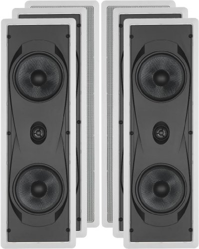 "Yamaha Natural Sound Custom Easy-To-Install In-Wall Flush Mount 2-Way 150 Watts Speaker (Set Of 4) With 1"" Titanium Dome Swivel Tweeter & Dual 6-1/2"" Kevlar Cone Woofers For Enhanced Center Channel Or In-Wall Speaker Sound From Your Plasma Lcd Big Screen"