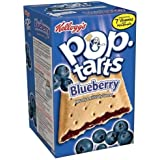 Kellogg's Pop-Tarts Blueberry, Unfrosted, 8-Count Box (Pack of 6)