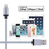 TOPLUS [2 Stück] 2m Nylon Lightning USB Kabel Ladekabel Datenkabel mit Aluminum Kopf für iPhone 6/6s/6 Plus/6s Plus/SE/5/5c/5s, iPad 4 Mini Air iPod Nano 7 iPod Touch 5 (Silberweiß) - 6