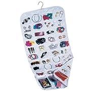Household Essentials 80-Pocket Hanging Jewelry and Accessories Organizer White Vinyl
