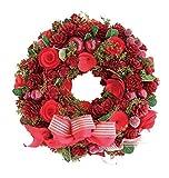 彩か SAIKA リース S 赤 レッド インテリア用 玄関飾り ラブリー CXO-187Sr Ribbon Wreath -Green grass w/Apple berry S Red