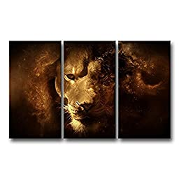 Canval prit painting 3 Panel Wall Art Mysterious Lion Face Close-Up Pictures s On Canvas Animal The Picture Decor Oil
