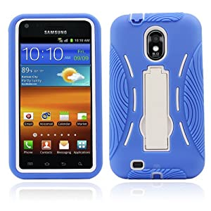 Premium Heavy Duty Hybrid Case (Outer Silicone + Inner Hard Protector Case w/ Kickstand) Galaxy S2 Sprint Samsung Epic Touch 4g (Model SGH D710) - Blue and White (MagicMobile Charm Gratis)