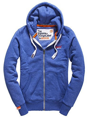SUPERDRY Orange Label Ziphood, Felpa Uomo, Mazarine Blue Gritsly, M