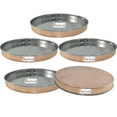 """Ensemble de 5 - Prisha Inde Thali Craft ® Assiette Dia 13""""-vaisselle de vaisselle pour la nourriture indienne et plats Thali Copperware en acier inoxydable ensemble - Cadeaux de Noël"""