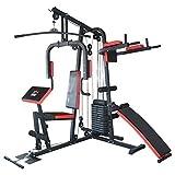 TrainHard HomeGym Multistation Fitnesscenter mit 65KG Gewichten inkl. Dipstation