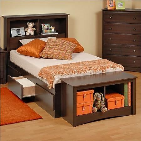 Prepac Manhattan Twin Bookcase Platform Storage Bed in Espresso