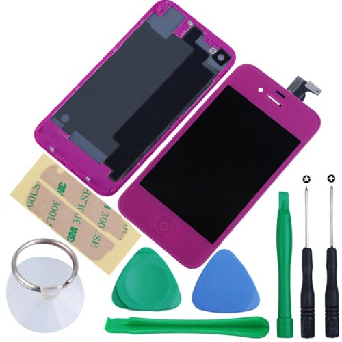 Generic Touch Screen Digitizer Glass With Flex Ribbon Cable & Lcd Display Assembly + Back Battery Cover + Home Button For Iphone 4 Cdma(Verizon/Sprint Only, Not Fits For Gsm At&T/T-Mobile) With Free Tools (Purple)