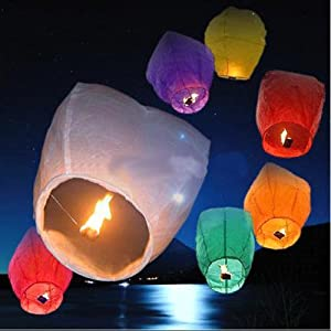 50 PCS Sky Lanterns - Assorted Color - Wedding Planning