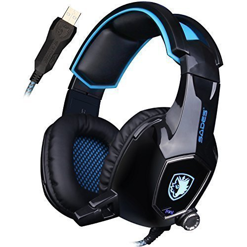 UL SADES AW50 Gaming Headset with Fixed Microphone Stereo Sound / USB 2.0 / Vibration Module / Noise Insulation Pads for PC and MAC (Black)