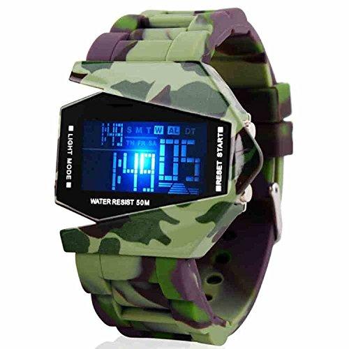Evana Digital Rocket Led Fighter Army Military Stealth Bracelet Watch for Men
