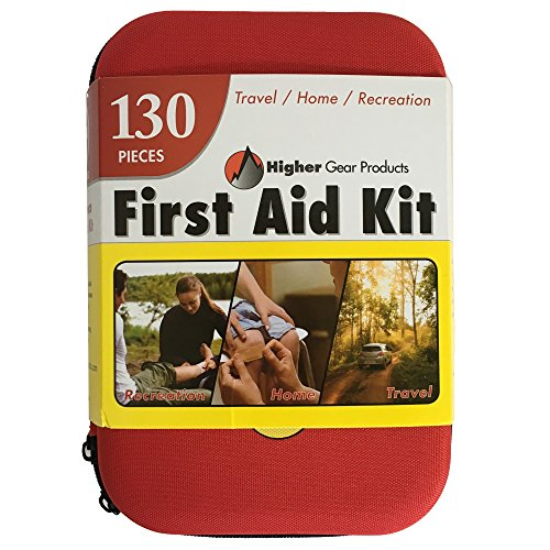 First Aid Kit - for Car, Auto, Home, Office, Boat, Backpack, Travel, Stroller, Camping, Hiking, Sports, any Emergency - 130 Pieces - Produced at an FDA Approved Facility by Higher Gear Products (Pin Strips For Cars compare prices)
