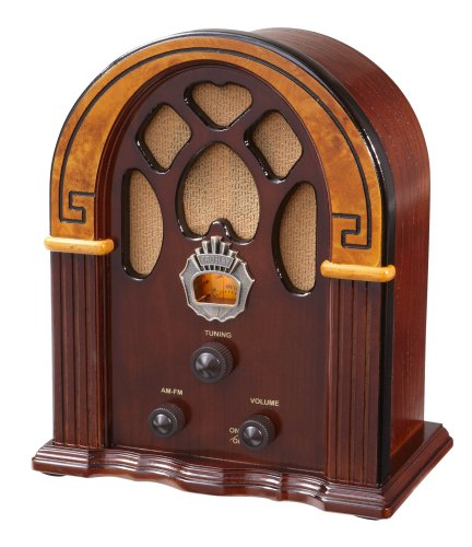 Crosley CR31-WA Companion Retro AM/FM Radio with 1 Full-Range Speaker (Walnut & Burl)