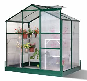Homcom Polycarbonate Greenhouse Green House Aluminium Frame With Galvanized Base 6ft x 4ft New