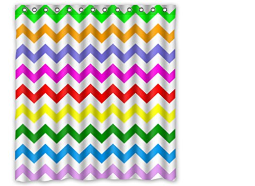 """Custom Polyester Shower Curtain 66"""" X 72"""" Chevron Turquoise Colorful White Purple Blue front-836276"""
