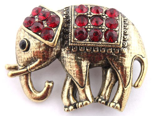 Ladies Gold with Red Iced Out Elephant Style Safety Pin Brooch & Pin Pendant