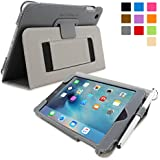 iPad Mini 4 Case, SnuggTM - Brown Leather Flip Cover and Stand with Automatic Wake / Sleep, Elastic Hand Strap & Soft Premium Nubuck Fibre Interior - Protective Apple iPad Mini 4 Smart Folio Case - Includes Lifetime Guarantee