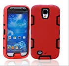 KAPA(TM) 3in1 Rubber Combo Hard Soft High Impact Armor Case Skin Gel for Samsung Galaxy S4 IV i9500 Red Black