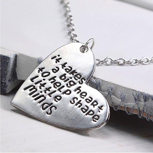 ALoveSoul Teacher Gift It Takes A Big Heart To Help Shape Little Minds Heart shaped Pendant Necklace