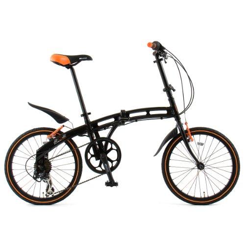 DOPPELGANGER(ドッペルギャンガー) 202 blackmax 20インチアルミフレーム折りたたみ自転車 シマノ7段変速 マッドガード(泥よけ)/LEDライト/ワイヤーロック標準装備