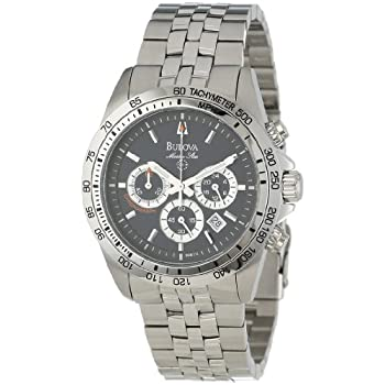 For the man who demands excellence, the Bulova Men's Marine Star Chronograph Stainless Steel Bracelet Watch #96B113 will more than exceed your expectations. The silver stainless steel bezel features a tachymeter for reading distances and speeds, perf...