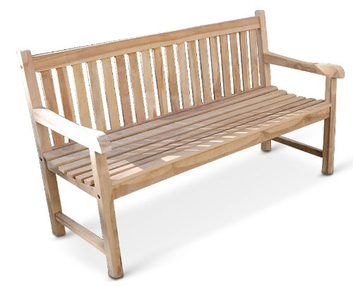 SAM® Garten-Bank Caracas, Breite 150 cm, Sitzbank aus Teak-Holz, 3-Sitzer Garten-Möbel, Holzbank für Garten Balkon Terrasse