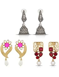 The Luxor Multicoloured Pearl And Stone Studded Earring Set Combo For Women