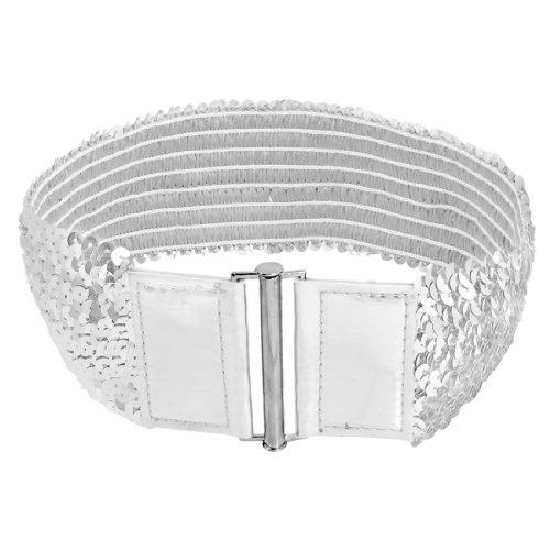 Allegra K Woman Silver Tone Sequin Elastic Fashion Cinch Belt