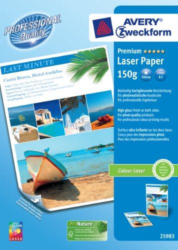 Zweckform Premium Colour Laser Foto-Papier, 150 g/qm A3, weiß, hochglänzend, beidseitig hochgl�...