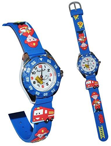 3-D Kinderuhr Feuerwehr blau - Uhr Kinder Armbanduhr Silikon - Feuerwehrmann / Feuerwehrauto - Feuer bunt Schule Analog für Jungen