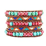 Womens Long Seed Bead Dyed Freshwater Cultured Pearl Wrap Around Leather Bracelet (Red & Light Blue)