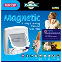 Staywell Magnetically Operated Door Cat Flap w Tunnel & Free Collar(White)