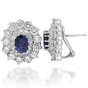 14K White Gold Womens Diamond Sapphire Earrings 14.25 Ctw