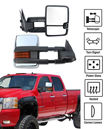 2007-2013 Chevy Silverado / GMC Sierra New Style Towing Mirrors Pair Set Power & Heated Glass With Convex Lens Amber LED Turn Signal Chrome Housing (2007 Chevy Silverado Tow Mirrors compare prices)