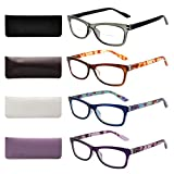Liansan Designer Readers 4 Pairs Rectangular Plastic Frame Reading Glasses for Men and Women L3706X(+2.50)