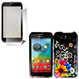 iFase Brand Motorola Photon Q XT897 Cell Phone Chromatic Flower Protective Case Faceplate Cover + LCD Screen Protector for Motorola Photon Q XT897