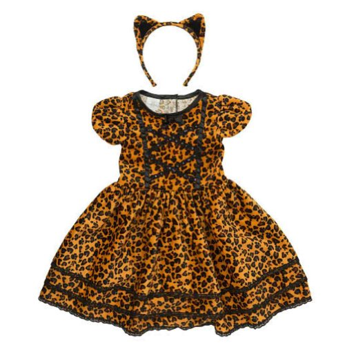 Koala Kids Toddler Girls Cat Costume Leopard Print Dress with Tail & Headband