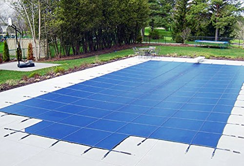 20'x40' Blue Mesh - CES Rectangle Inground Safety Pool Cover - 15 Year Warranty - 20 ft x 40 ft In Ground Winter Cover with 4'x8' Center End Steps