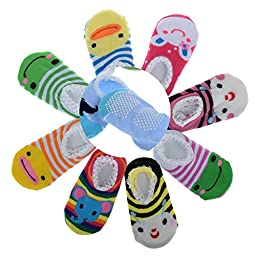 HSELL® 5 Pairs Assorted Baby Toddler Cartoon Animal Style Anti Slip Skid Cotton Socks Booties For Age 0-2, Length 9-15cm/3.54-5.9inch (Girl\'s Style)