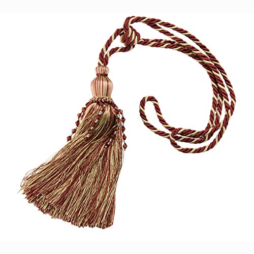 Large Tassels Home Decor: Kenney Beaded Rope Tassel Window Curtain Tieback, Burgundy