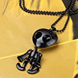 YKS Generous Big Eye Punk Skull Skeleton Skellington UFO Alien ET Robot Pendant Necklace Sweater Chain (Black)